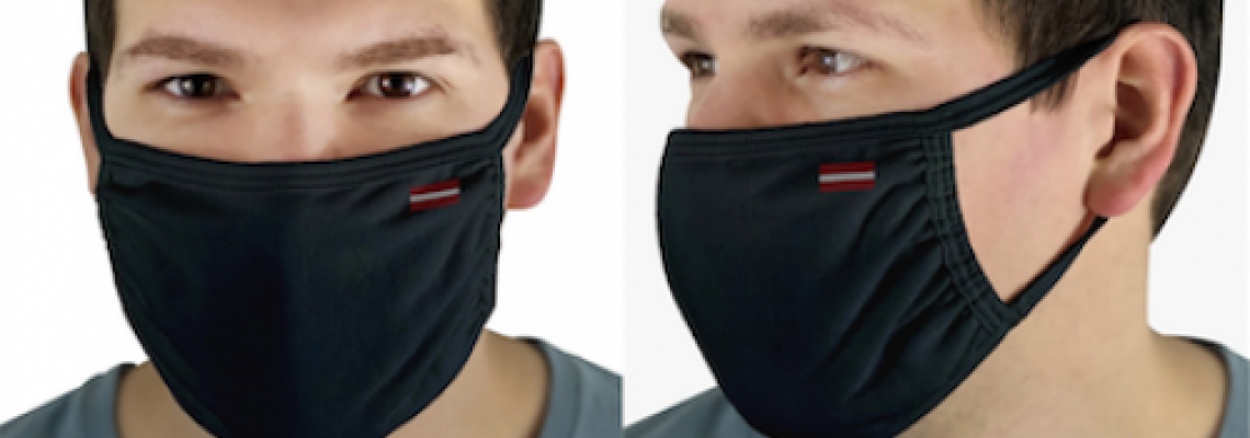 Face cover with print.